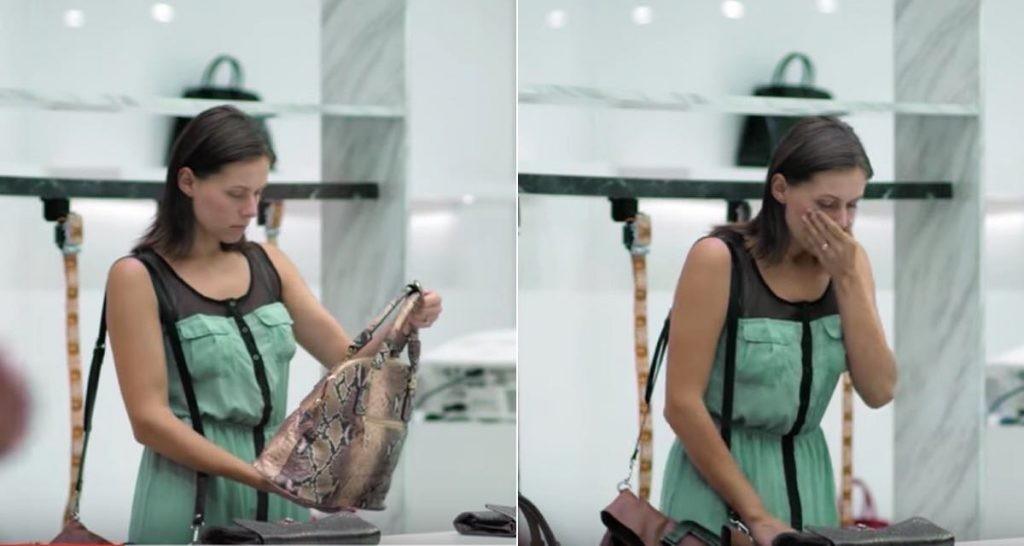 Sie wollte echtes Leder kaufen, aber erschreckt sich, als sie die Tasche von innen sieht!