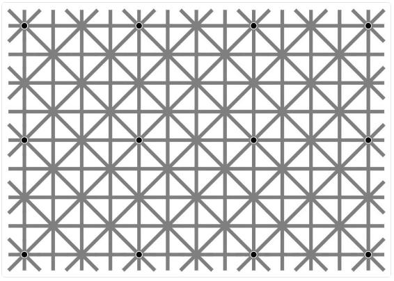 Auf diesem Gitter sitzen 12 schwarze Punkte. Kannst du sie alle sehen? Dann bist du wahrscheinlich ein Genie.