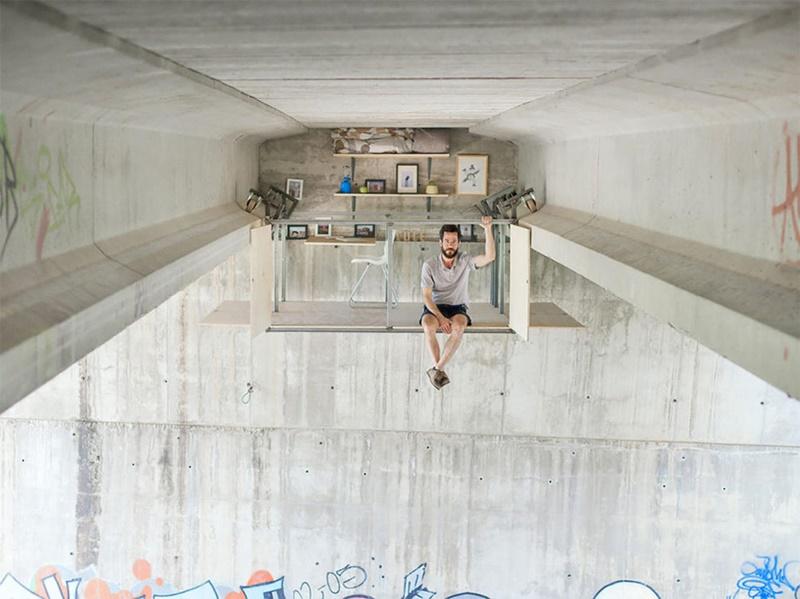 Vom Mülleimer zum Luxus: Designer baut ein kreatives Studio unter einer Brücke