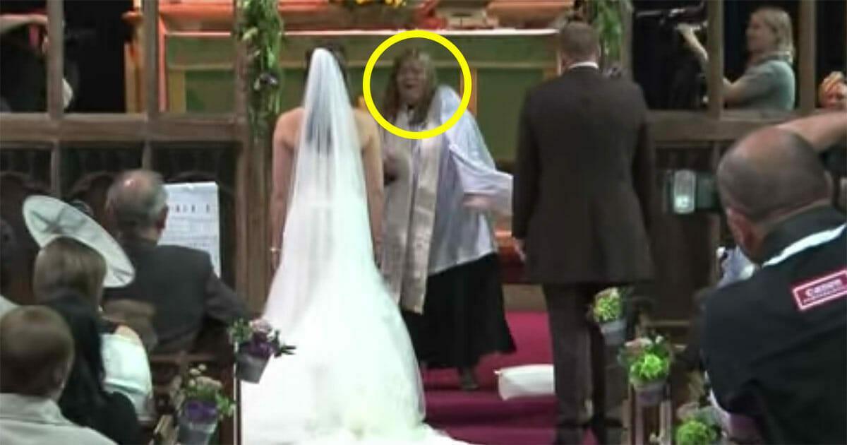 Hochzeitsgäste denken, dass die Priesterin den Verstand verloren hat – dann dreht sich das Paar um und schockiert jeden