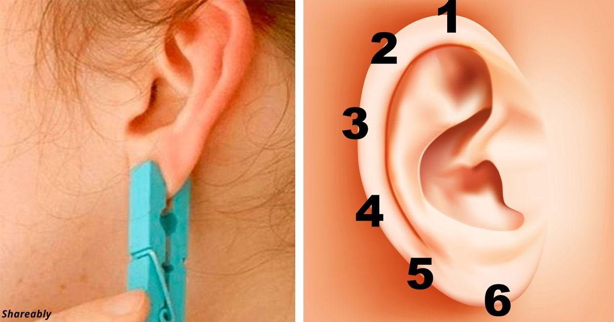 Drücken Sie Ihr Ohr mit einer Wäscheklammer für 5 Sekunden. Der Effekt wird unglaublich sein, wir versprechen!
