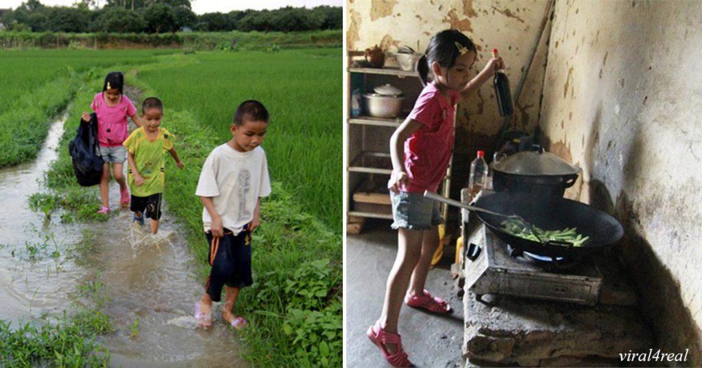 Mutter verließ die Kinder, und Papa starb, dann ersetzte dieses kleine Mädchen ihre Eltern. Kleine Heldin!