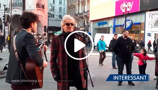 Als Rod Stewart hört, wie ein Straßenmusikant sein Lied spielt, bittet er um dessen Mikrofon