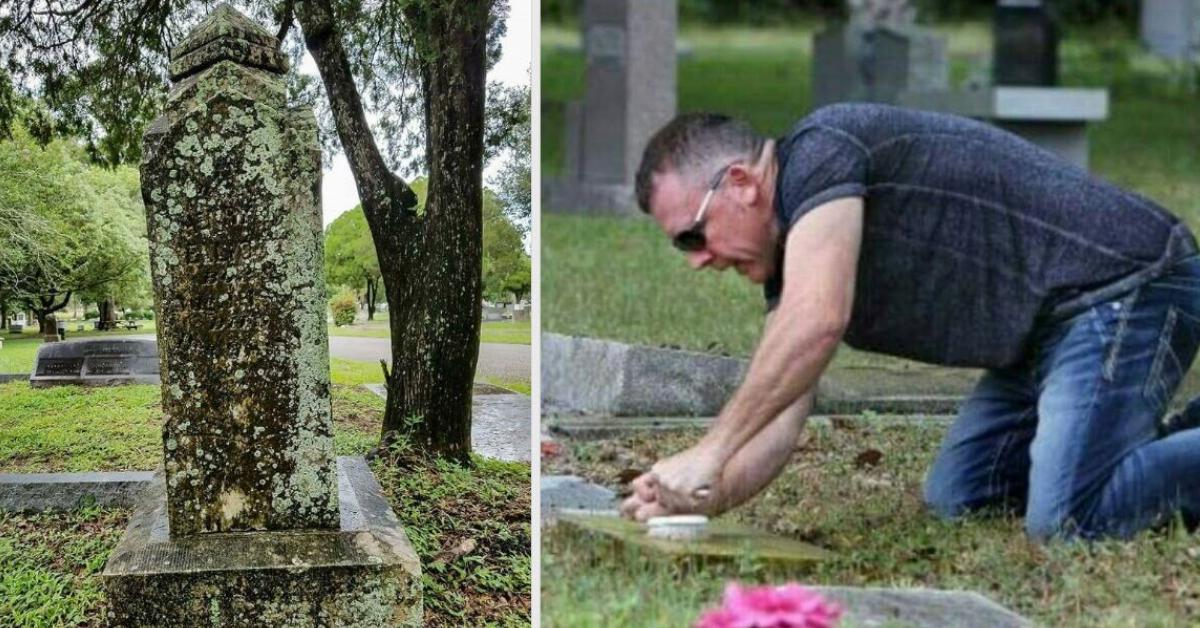 Mann will Geschichte hinter alten Grabsteinen aufdecken.