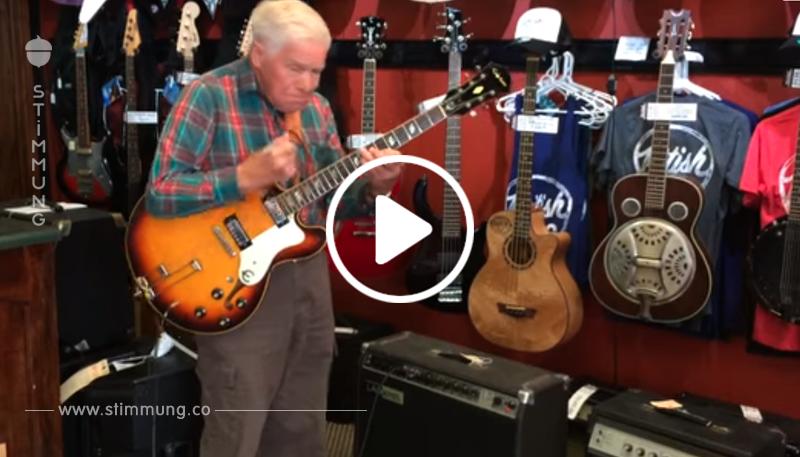 81-jähriger geht in ein Geschäft, um eine Gitarre zu probieren – danach ist der Besitzer sprachlos