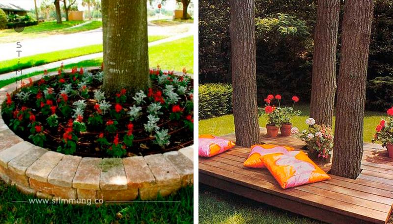 Sie können auch entlang der Bäume dekorieren. Mit diesen beeindruckenden Gartenideen stehen Bäume im Mittelpunkt der Aufmerksamkeit.