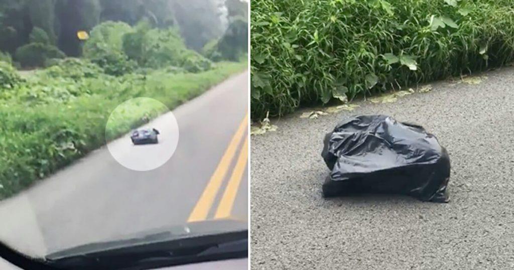 Frau fährt an einem Müllsack vorbei und ist schockiert, als sie sieht, dass sich dieser bewegt