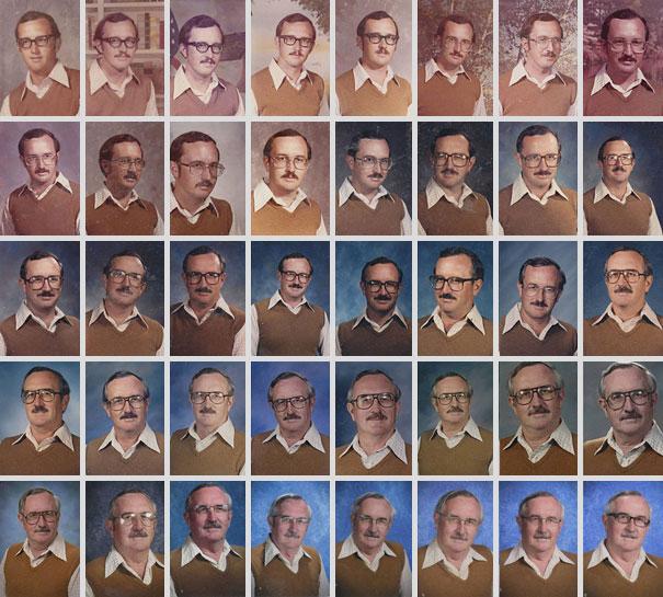Der Lehrer hat 40 Jahre hintereinander das gleiche Outfit zum Fotografieren mit der Klasse getragen!