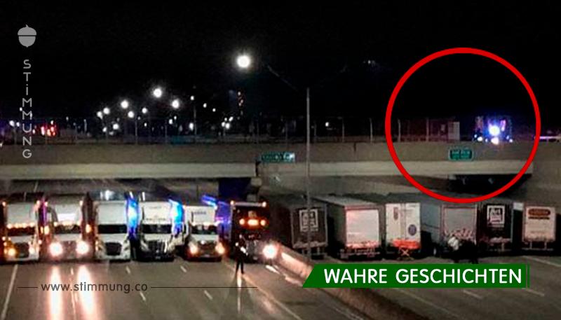 In den USA reihten sich Lastwagen unter der Brücke auf, um den Mann davon abzuhalten, Selbstmord zu begehen!