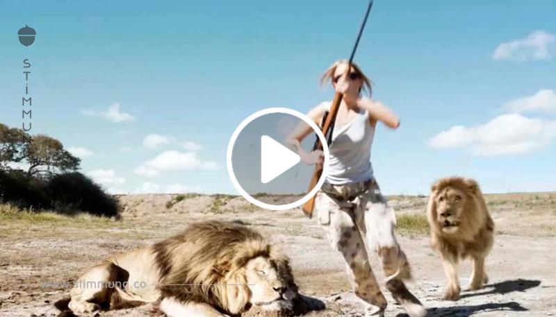 Das Paar tötet einen Löwen und lächelt für das Foto. Was Sekunden später im Hintergrund geschieht, lässt mir die Haare zu Berge stehen.