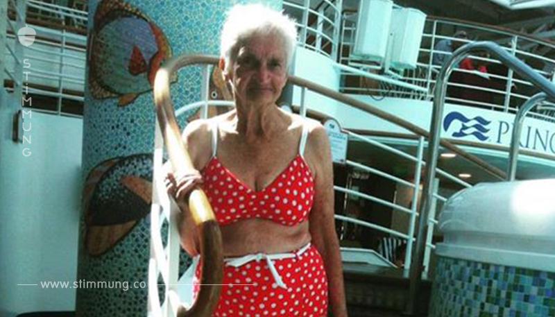 90 Jährige posiert stolz im Bikini.