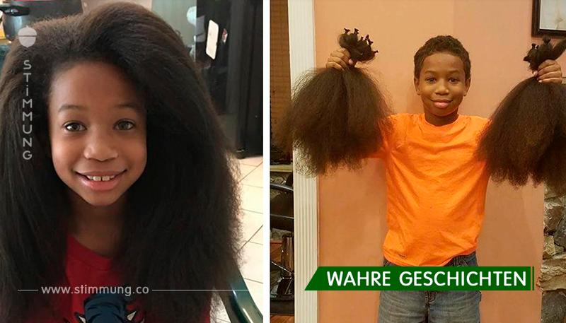 Der 8-jährige Junge hat seit 2 Jahren seine Haare wachsen lassen, um Perücken für die Kinder, die an Krebs leiden, herzustellen!
