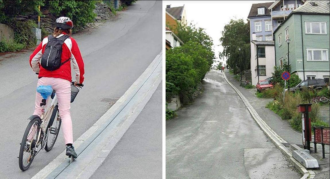 Norwegen hat die weltweit erste Rolltreppe für Radfahrer!