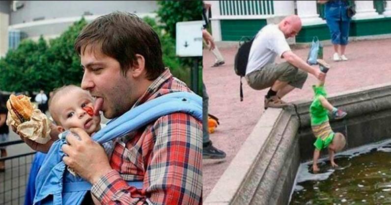 12 interessante und komische Fotos. Wie Väter mit Kindern spazieren gehen!