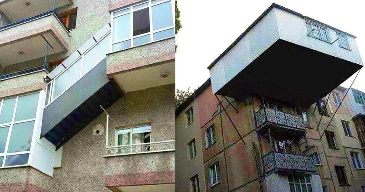 Unverschämte Nachbarn: die absurde Balkonerweiterung getan hatten