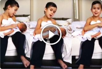 Die Mutter hat ihr neugeborenes Kind mit einem 6-jährigen Bruder verlassen ... Ihr Video wurde über das Internet auf einmal zu populär!