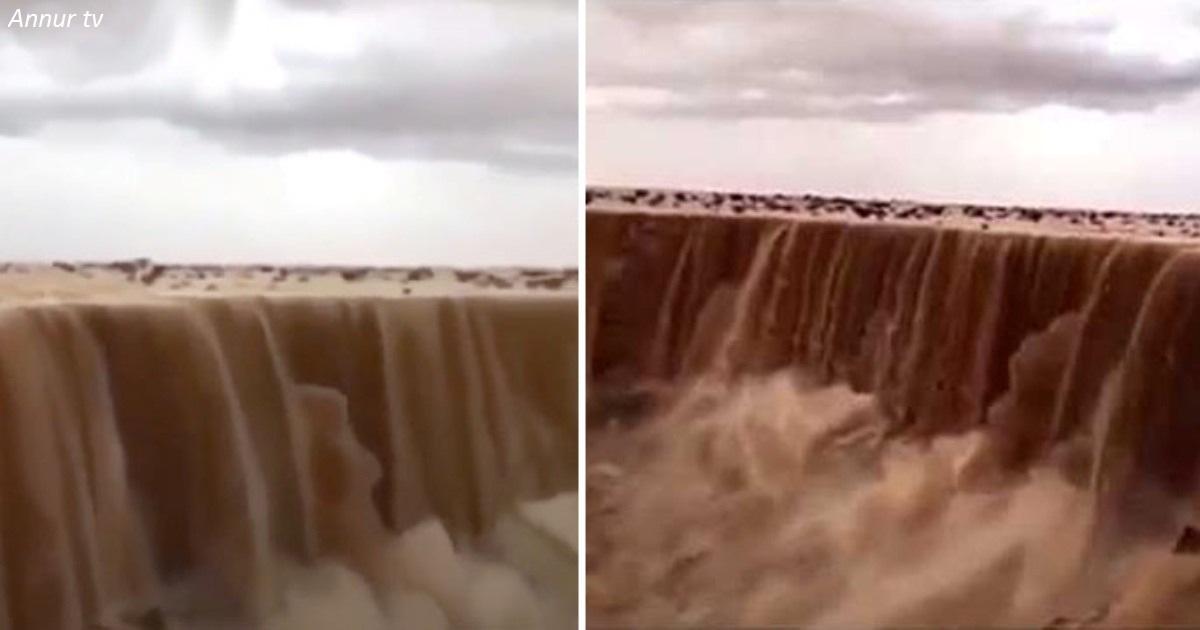 Unglaubliches Phänomen in Saudi Arabien: ,,Wasserfall,, aus Sand!