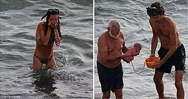 Eine Touristin aus Russland kam nach Ägypten, um direkt im Meer zu gebären ...