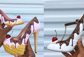 Designer Schuhe in Form von Kuchen und Donuts. Die teuersten Desserts, weil jedes Paar 15 Millionen Dollar kostet