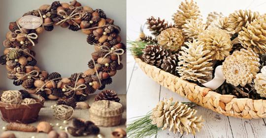 Dekoration mit Tannenzapfen! Erstellen Sie durch das Dekorieren natürlicher Produkte eine warme Herbstatmosphäre!