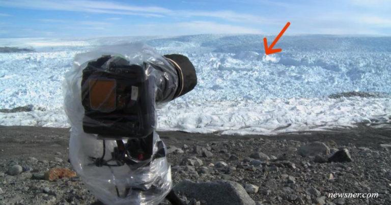 Der Fotograf hat die Kamera auf dem Eis gelassen. Nach ein paar Minuten hat sie etwas gefilmt, das viel alarmiert hat!