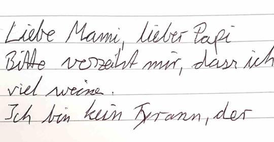 Brief eines Neugeborenen an seine Eltern.