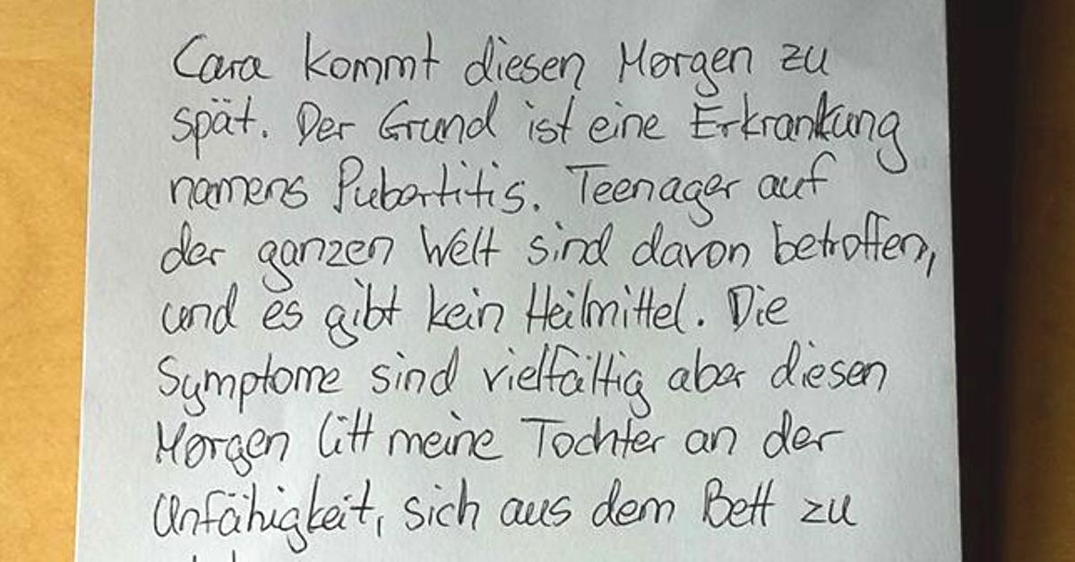 Mutter schreibt fauler Tochter Entschuldigungs-Brief.