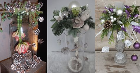 Fertige ein Weihnachtsgesteck auf einer Vase an und kreiere auf diese Weise etwas Einzigartiges! 9 tolle Ideen…….