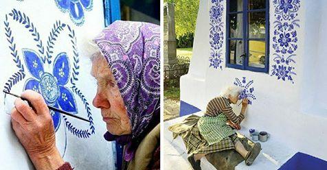 90-Jährige macht aus Dorf ihre eigene Kunstgalerie, indem sie Blumen auf Häuser malt