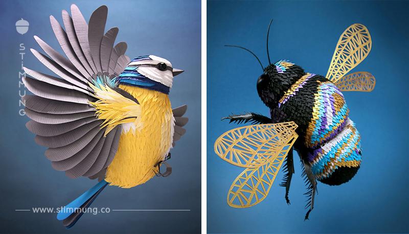 Skulpturen aus winzigen Papierstücken, die so perfekt geschaffen sind, dass man kaum seinen Augen glaubt!