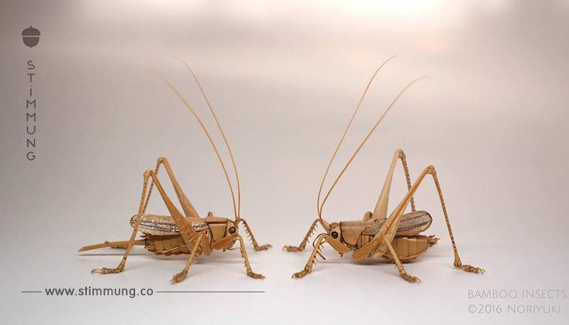 Realistische Insekten von einem japanischen Holzhandwerker