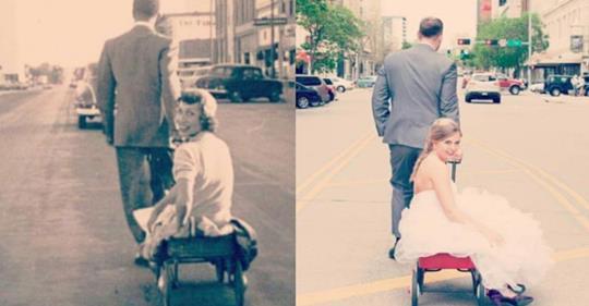 14 Enkel stellen Bilder ihrer Großeltern nach.