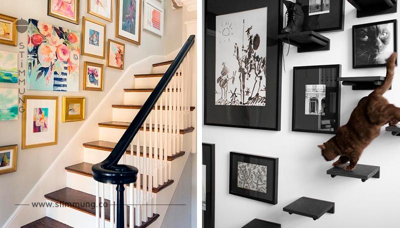 Die Wand neben der Treppe ist ein idealer Platz für das Gestalten von die Dekorationen.