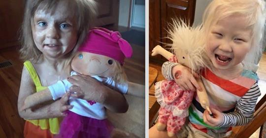 Frau macht Puppen, die wie kranke Kinder aussehen.