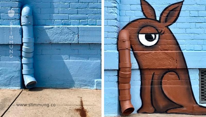 """Künstler """"vandalisiert"""" Nachbarschaft mit lustigen Bildern."""