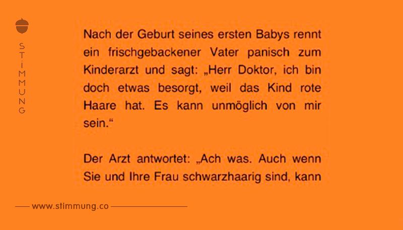Witz des Tages: Schwarzhaariger Mann bekommt rothaariges Baby.