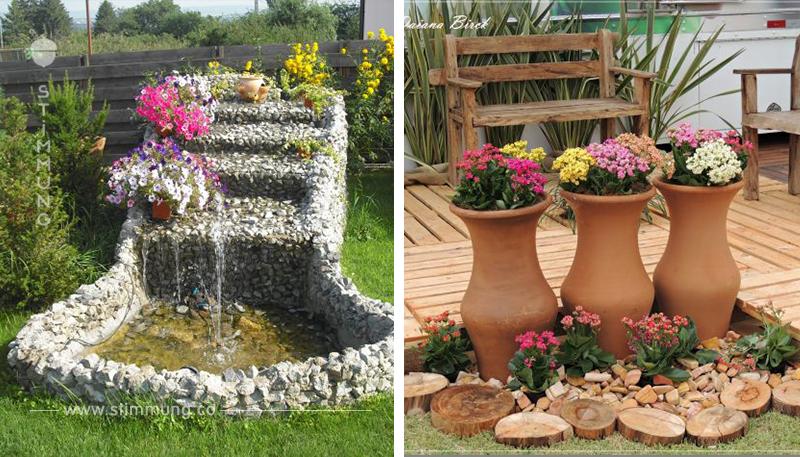 Finden Sie Ihren Garten ein wenig langweilig? Fügen Sie einige Töpfe oder Steine in den Garten hinzu.