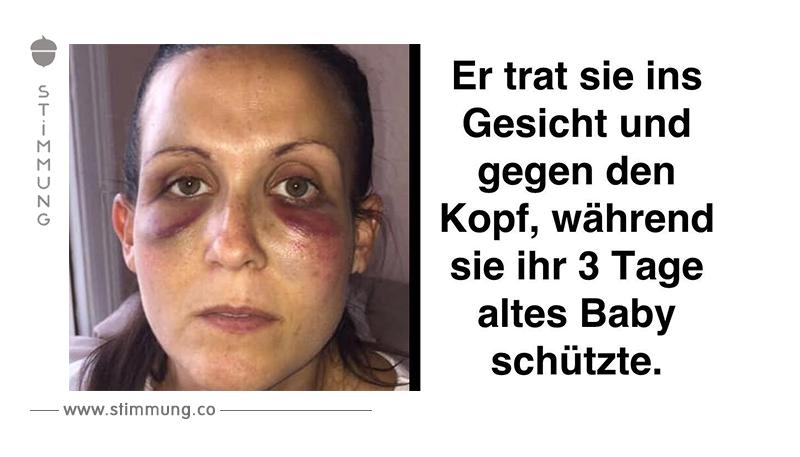 Prügelattacke: Frau kauert sich schützend über Neugeborenes.