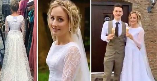 29 jährige Braut schreitet zum Altar in einem 40 € Kleid, dass sie in einem Second Hand Shop gefunden hat am Tag ihrer Verlobung
