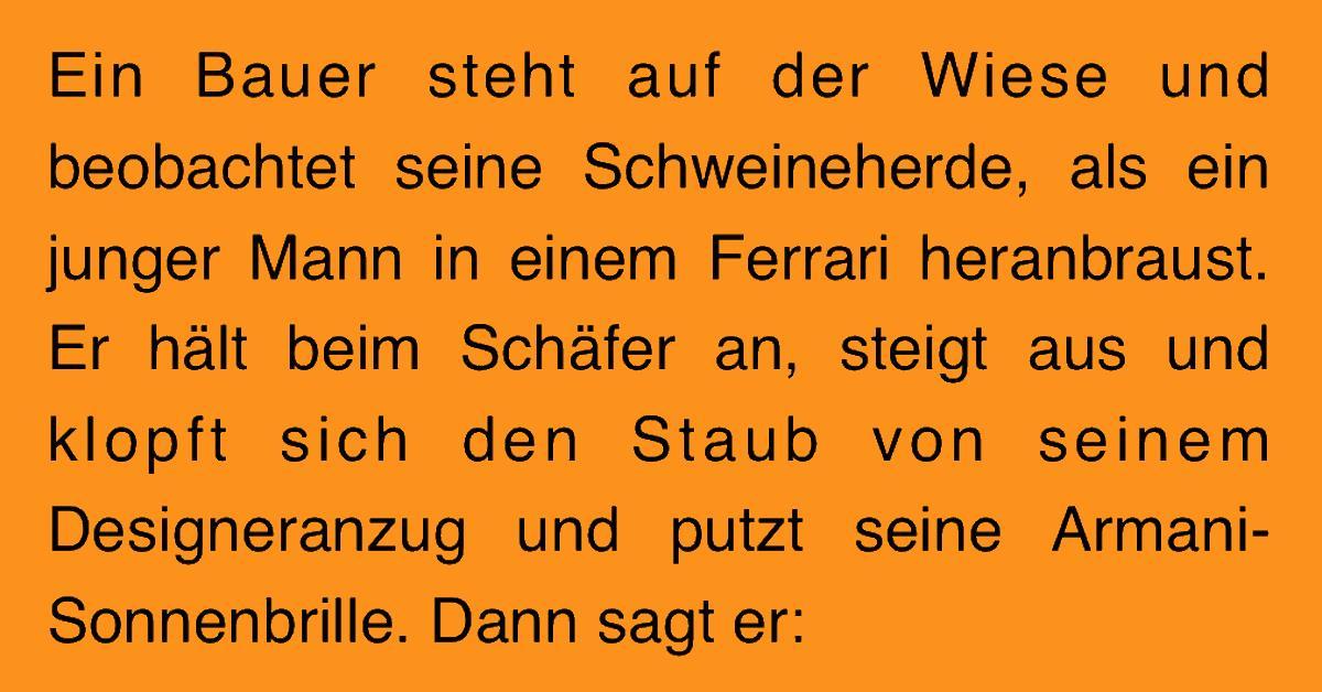 Witz des Tages: Ferrarifahrer will ein Schwein haben.