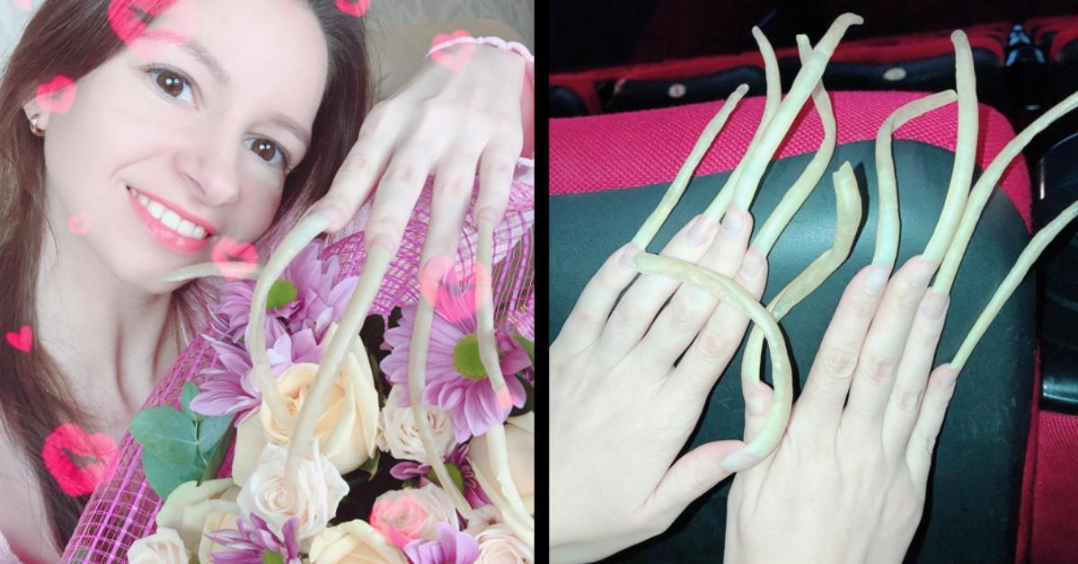 Frau bekommt die Quittung für ihre 12 cm Fingernägel.