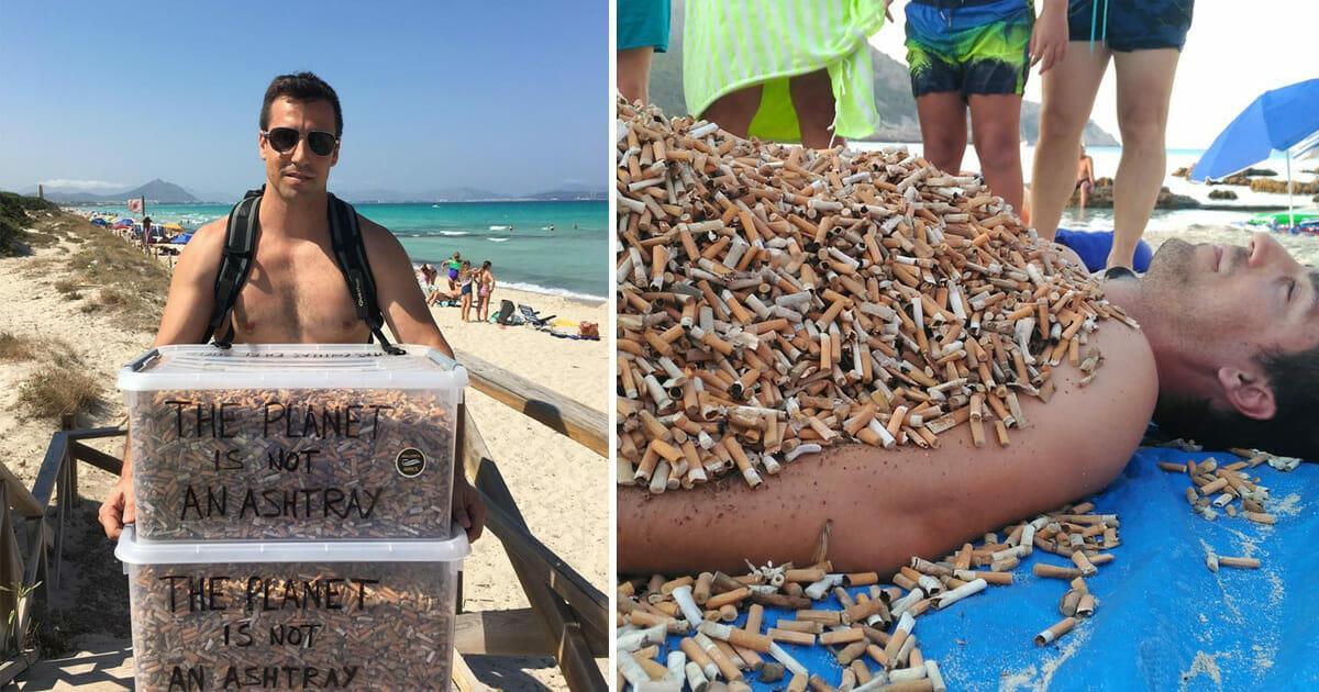 Miguel sammelt jeden Tag bis zu 2.000 Zigaretten in Urlaubsparadies – zeigt damit schmutzige Wahrheit
