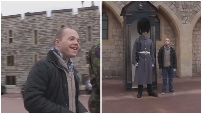 Mann mit Downsyndrom besucht seinen Bruder, der beim Windsor Castle als Wache arbeitet