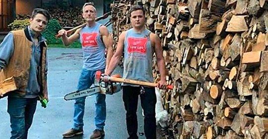 Vater und seine zwei Söhne hackten Holz im Wert von Tausenden von Euro, nur um es Familien in Not zu geben
