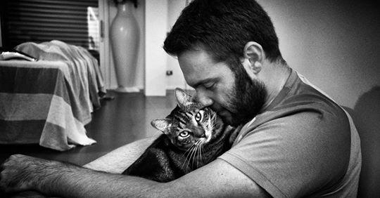 Männer, die mit Katzen schmusen