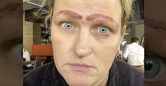 Die erste Microblading Session einer Mutter geben ihr schiefe Augenbrauchen