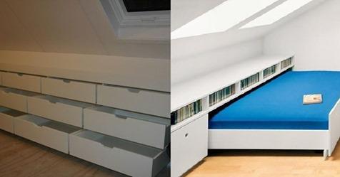 Haben Sie einen Dachboden mit schrägem Dach? Mit einem maßgeschneiderten Schrank kreieren Sie viel mehr Platz… 8 einzigartige Ideen!