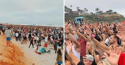 Hunderte kommen an Strand von Kalifornien zusammen, um Gottesdienst abzuhalten – trotz Verbot großer Versammlungen