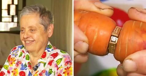 Frau verliert ihren Verlobungsring während Gartenarbeiten und findet ihn 13 Jahre später wieder in einer Karotte