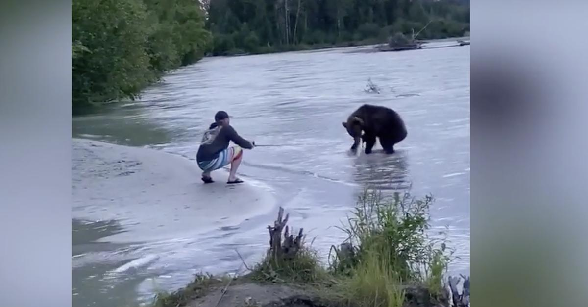 Angler fängt Lachs   als sich dem Mann ein Grizzlybär nähert, erstarrt er
